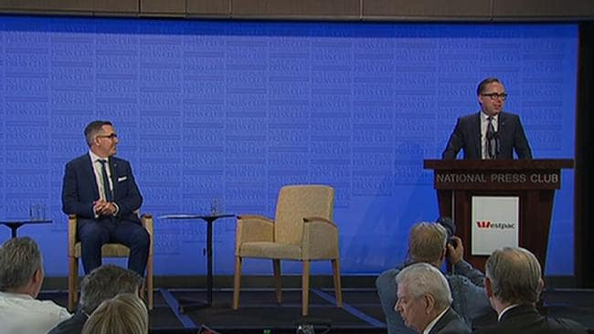 Rare show of unity: Alan Joyce and Paul Scurrah at the National Press Club in Canberra.