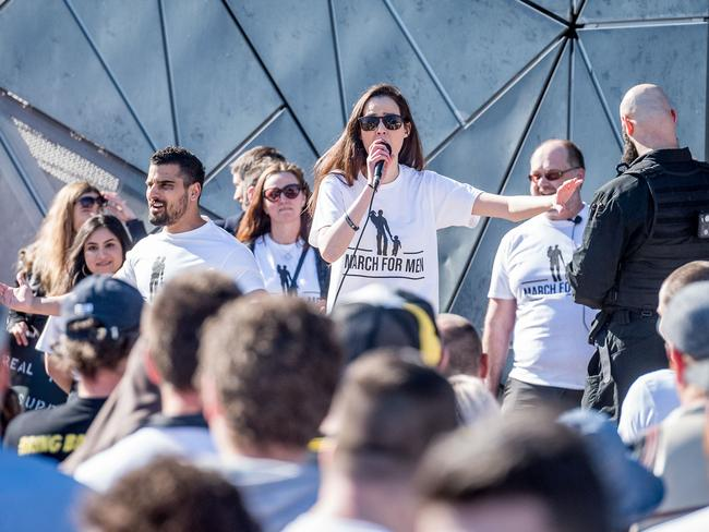 Sydney Watson speaks at the rally. Picture: Jake Nowakowski