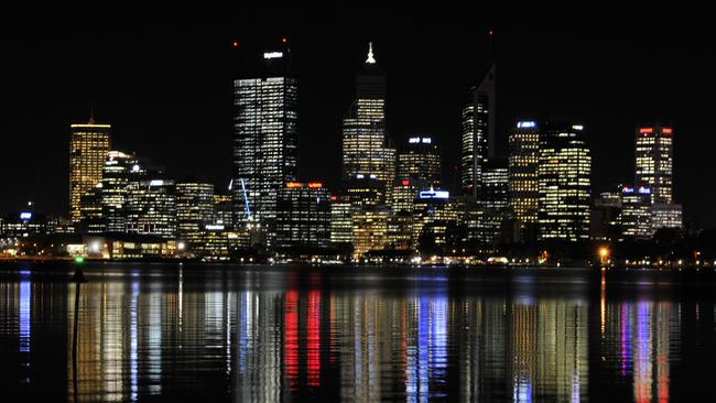 Perth, the city of lights, at night.