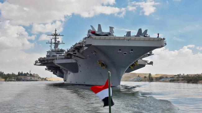 The Suez Canal Authority released this photo in May of the USS Abraham Lincoln sailing south in the Suez Canal near Ismailia city east of Cairo. Picture: AFP