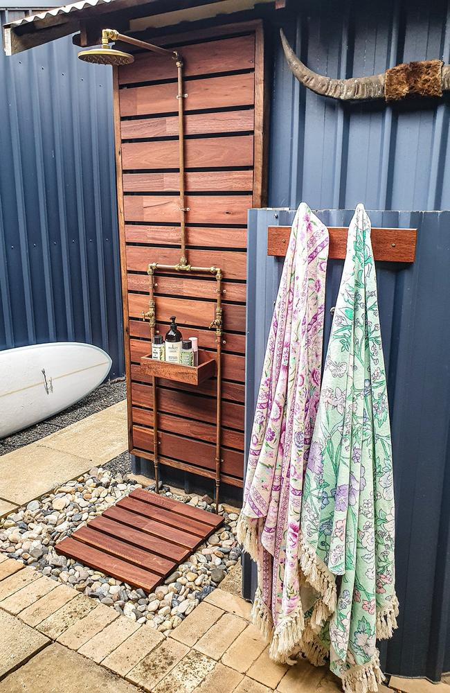 She posted a snap of her new shower to a popular Bunnings group on Facebook which attracted more than 1,400 likes and comments. Picture: Supplied