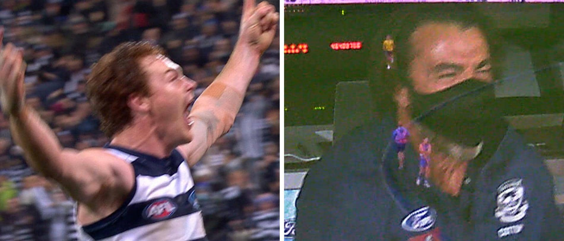 Gary Rohan goalled after the siren to give Geelong the thrilling win over the Western Bulldogs.