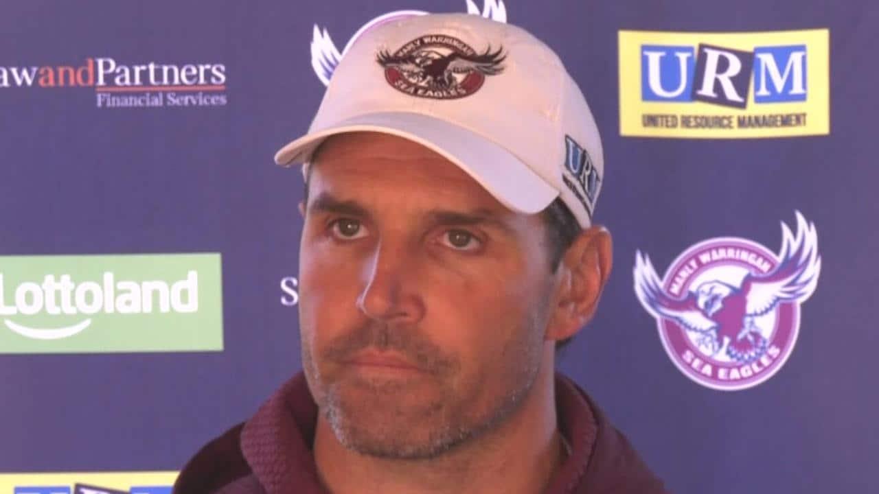 Manly coach Trent Barrett speaks to the media.