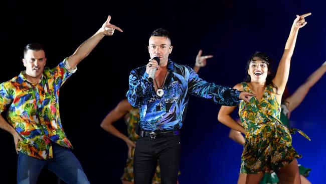 Anthony Callea joins the Oz Idol reunion. (AAP Image/Darren England)