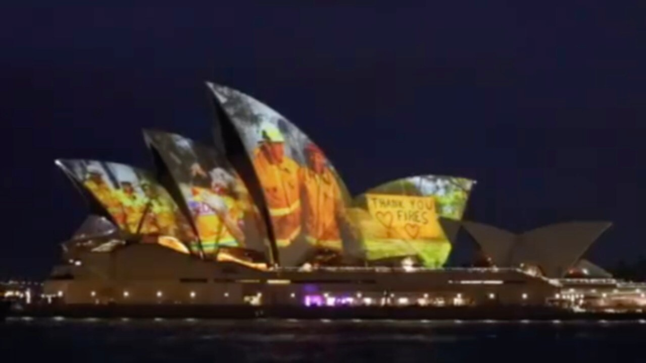 Sydney Opera House lights up with messages of support to firefighters