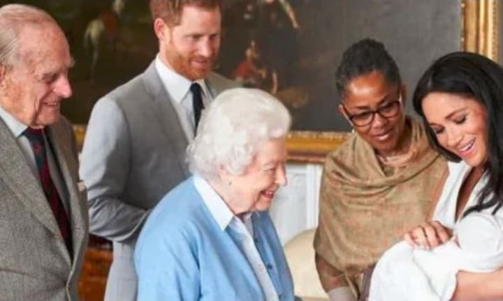 The beautiful photo captured the Queen meeting baby ArchieSource:Supplied