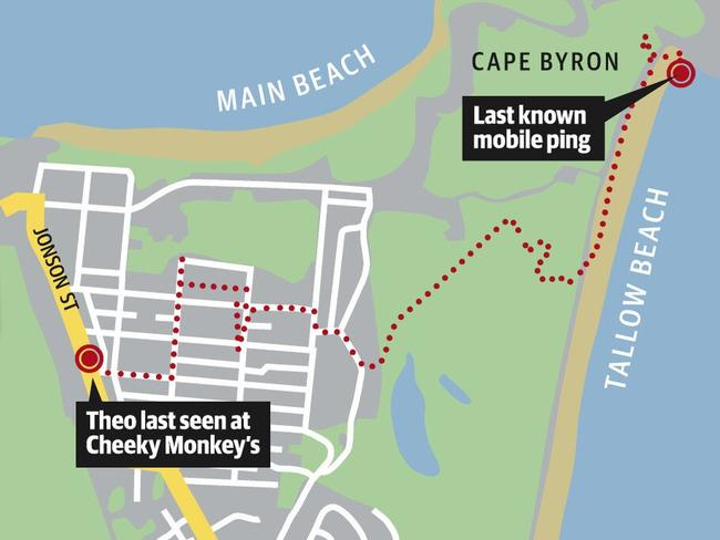 Theo Hayez's final phone records show the route he took from Cheeky Monkey's about 11pm until just after 1am the next morning when the last recorded signal came from a tower near Cape Byron lighthouse.