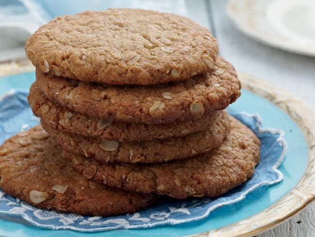 Chewy, delicious ANZAC Day biscuits are an Aussie favourite. Picture: Jeremy Simons