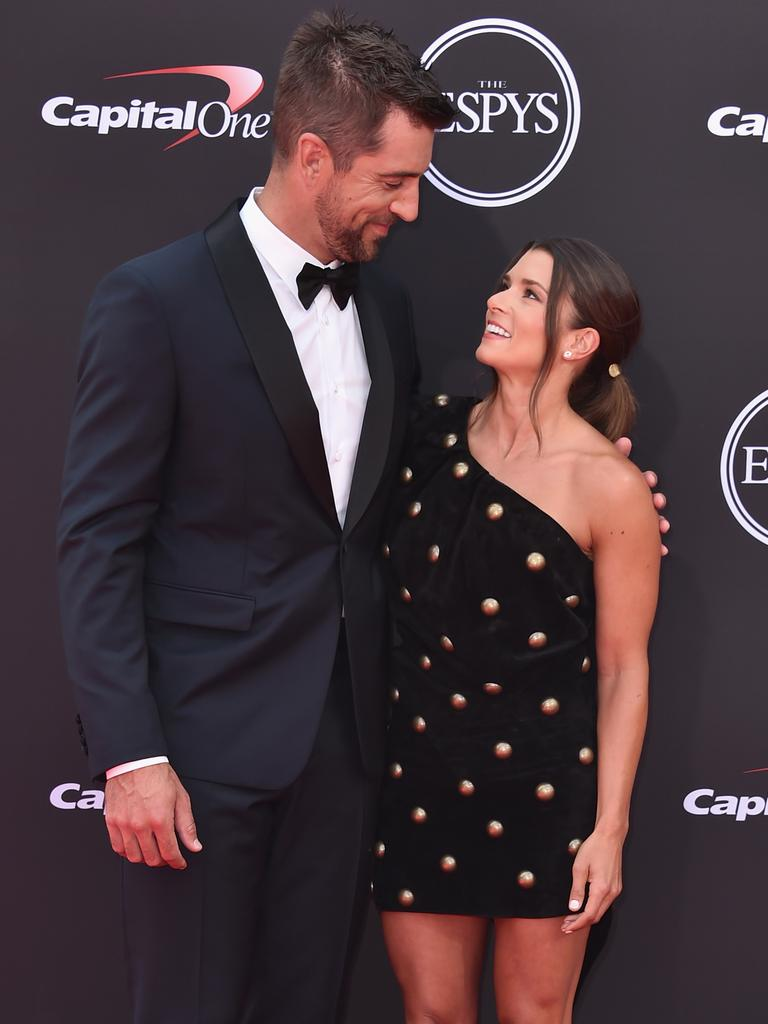Aaron Rodgers and Danica Patrick attend the 2018 ESPYS. (Photo by Alberto E. Rodriguez/Getty Images)