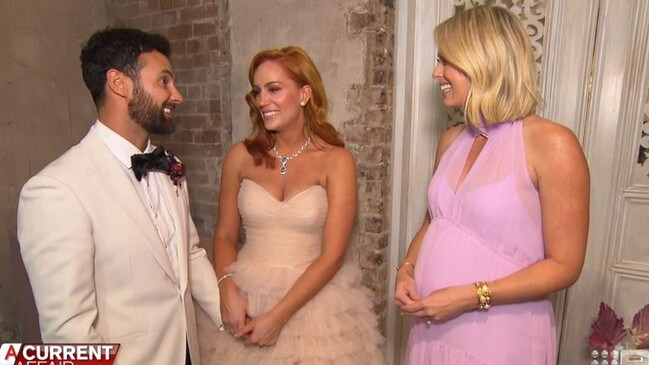 'Look at your beautiful bride,' Jeffreys said in a to-camera interview following the ceremony. Picture: Channel 9.