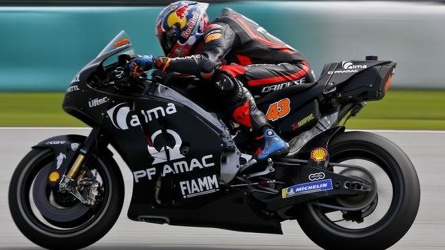 MotoGP rider Jack Miller of Australia steers his Ducati during the MotoGP testing at Sepang, Malaysia.