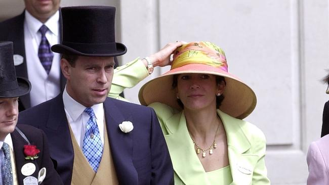 Prince Andrew and Ghislaine Maxwell at the Royal Ascot races in 2000. Picture: Tim Graham Photo Library via Getty Images