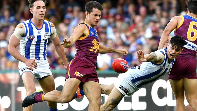 Brandon Starcevich in action on his AFL debut.
