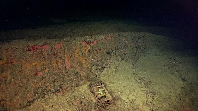 A crate of 25mm anti-aircraft on laying on the capsized hull. Picture: R/V Petrel