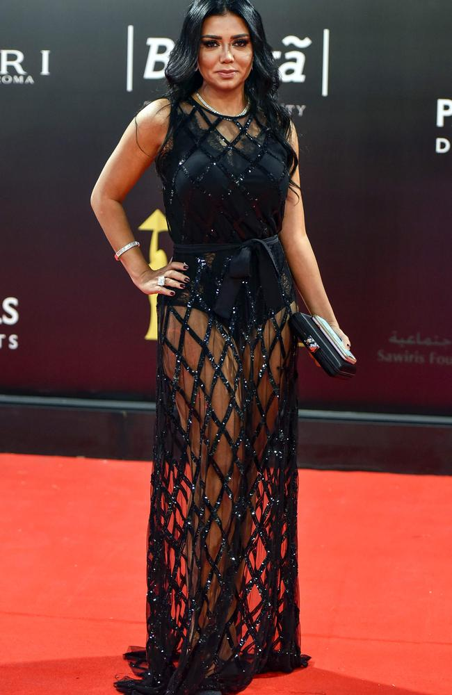Egyptian actress Rania Youssef poses on the red carpet at the closing ceremony of the 40th edition of the Cairo International Film Festival on November 29, 2018. Picture: AFP