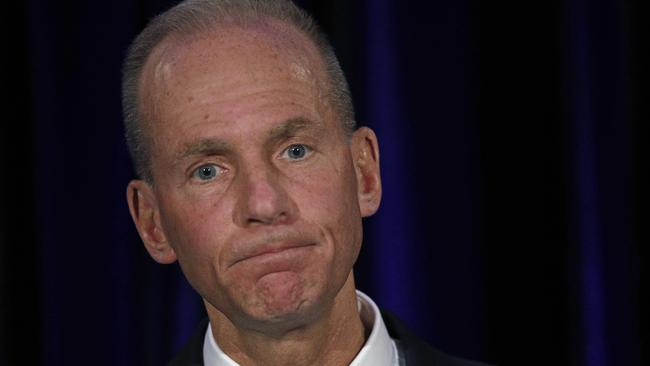 Chairman and CEO Dennis Muilenburg took reporters' questions for the first time since accidents involving Boeing aircraft. Picture: AP Photo/Jim Young, Pool.
