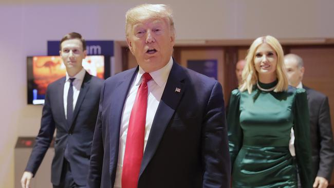 US President Donald Trump, Ivanka Trump and Jared Kushner, left, at the World Economic Forum in Davos, Switzerland.