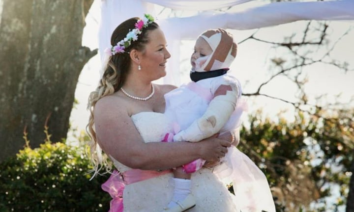 The bravest flowergirl in the world. Image: that's life! Australia