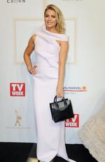 Natalie Bassingthwaighte arrives at the 2017 Logie Awards at the Crown Casino in Melbourne, Australia, Sunday, April 23, 2017. (AAP Image/Joe Castro) NO ARCHIVING
