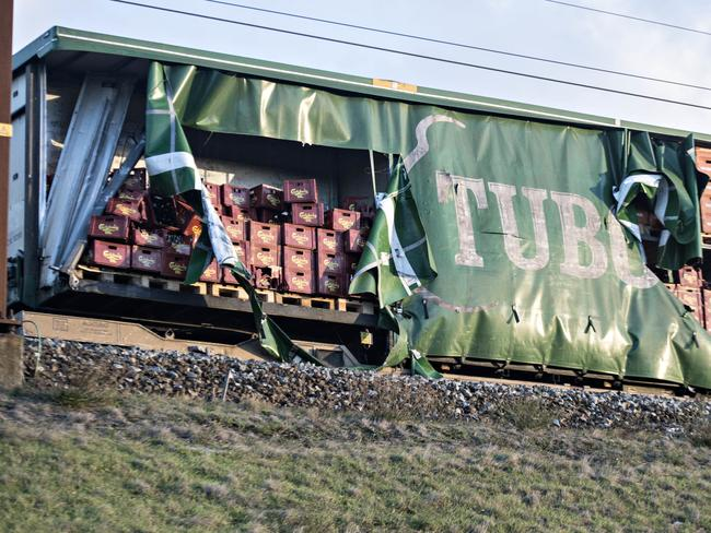 Damaged compartments of the cargo train near the Storebaelt bridge.