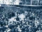 Champagne bubbles from the fountain as former SA Premier Don Dunstan opens Rundle Mall in 1976.