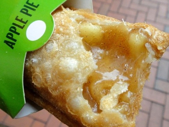 The original hot apple pie from McDonald's. Someone has been wise and created a hole so the extreme heat can escape.