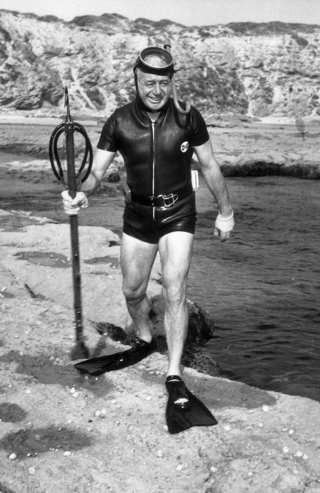 PM Harold Holt in scuba gear.