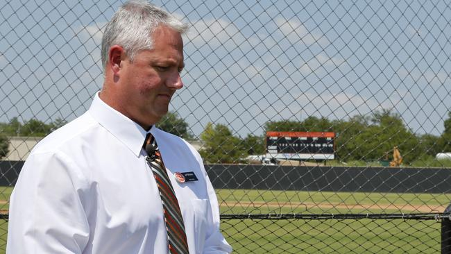 Jeff Williams, director of athletics at East Central University, prepares to talk about Christopher Lane during an interview at the baseball field. Lane was on a baseball scholarship. AP Photo/Sue Ogrocki