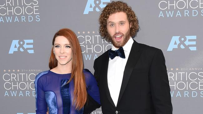 Actress Kate Gorney and host TJ Miller hit up the red carpet for the Critics' Choice Awards. Picture: Jason Merritt/Getty Images/AFP