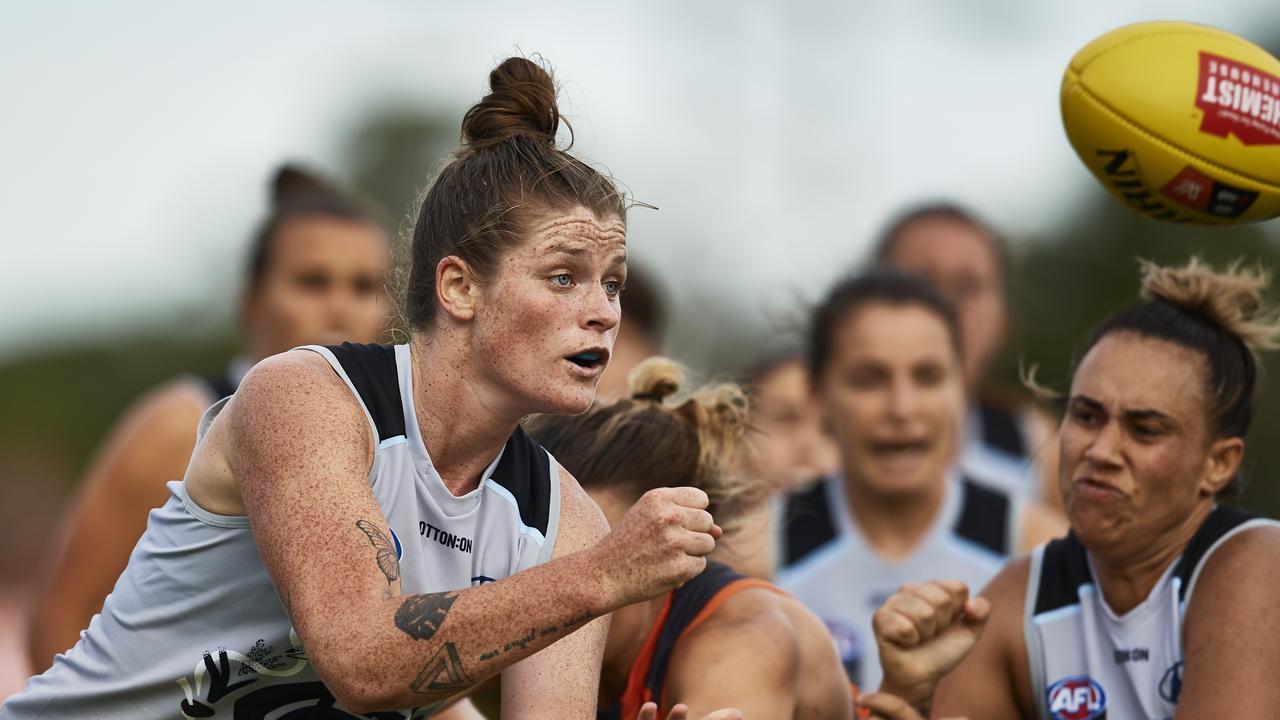 Brianna Davey flicks out a handball against Greater Western Sydney on Saturday.