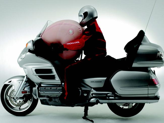 Air apparent ... Honda's flagship $36,000 Goldwing has been available with an airbag in Australia since 2008.