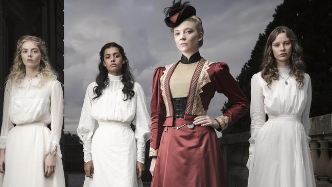 The cast of Picnic At Hanging Rock: Samara Weaving, Madeleine Madden, Natalie Dormer (Game of Thrones) and Lily Sullivan. Picture: FremantleMedia Australia/Ben King
