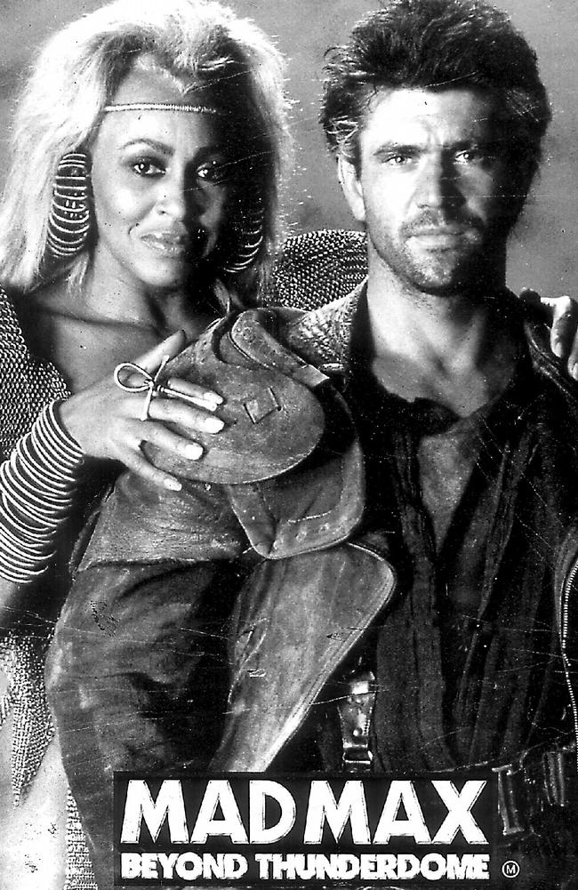"""Mel Gibson and Tina Turner in poster of 1985 film """"Mad Max: Beyond Thunderdome""""."""