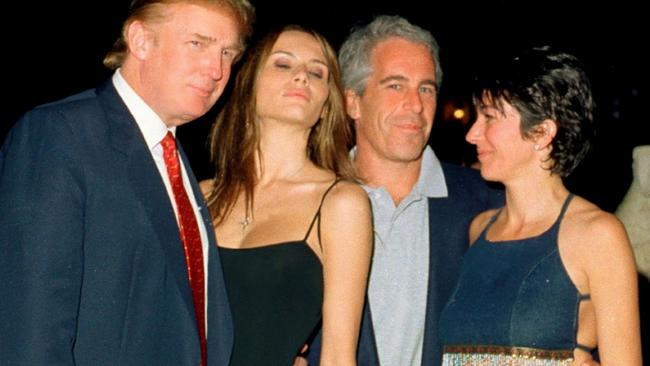 This photo, taken at Mar-a-Lago in 2000, shows Donald Trump, his future wife Melania, Jeffrey Epstein and Ghislaine Maxwell. Picture: Davidoff Studios/Getty Images