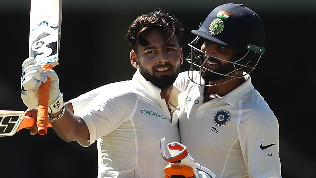 Rishabh Pant of India is congratulated by Ravindra Jadeja of India after reaching his century during day two.