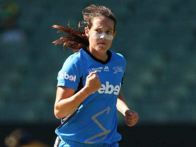 Megan Schutt celebrates taking a wicket for the Adelaide Strikers. Picture: Getty Images