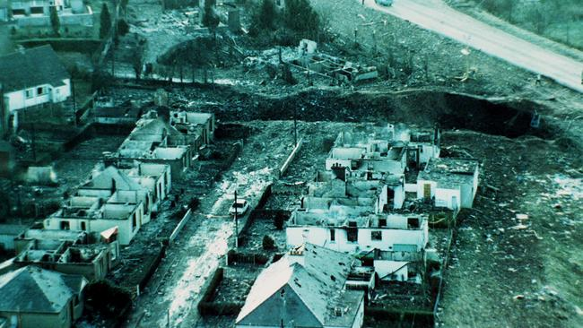 The scale of devastation can be seen in this aerial view of Scottish town of Lockerbie after Pan Am flight 103 was blown out of the sky, killing 270 people.