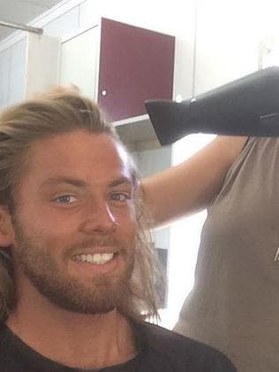 Getting his locks dried. Picture: Instagram/Tom Nunn