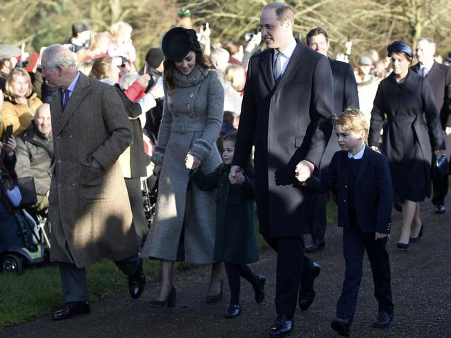 Prince Charles, Kate, Prince William and their children George and Charlotte at a Christmas Day church service in Sandringham. Picture: AP