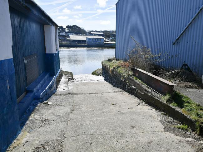 The slipway by the river where the car rolled. Picture: PA Wire