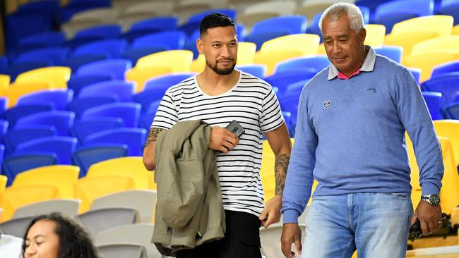 Israel Folau after the Round 14 Super Netball match between the Sunshine Coast Lightning and the Adelaide Thunderbirds. Picture: AAP