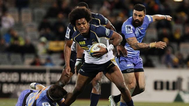 Henry Speight makes a break for the Brumbies against the Force at Canberra Stadium.
