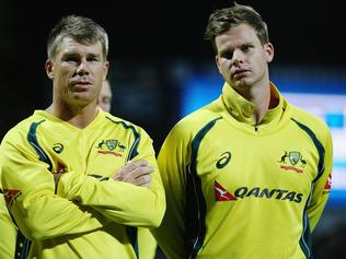 HAMILTON, NEW ZEALAND - FEBRUARY 08: David Warner of Australia and Steve Smith of Australia look on after losing the 3rd One Day International cricket match between the New Zealand Black Caps and Australia at Seddon Park on February 8, 2016 in Hamilton, New Zealand. (Photo by Hannah Peters/Getty Images)