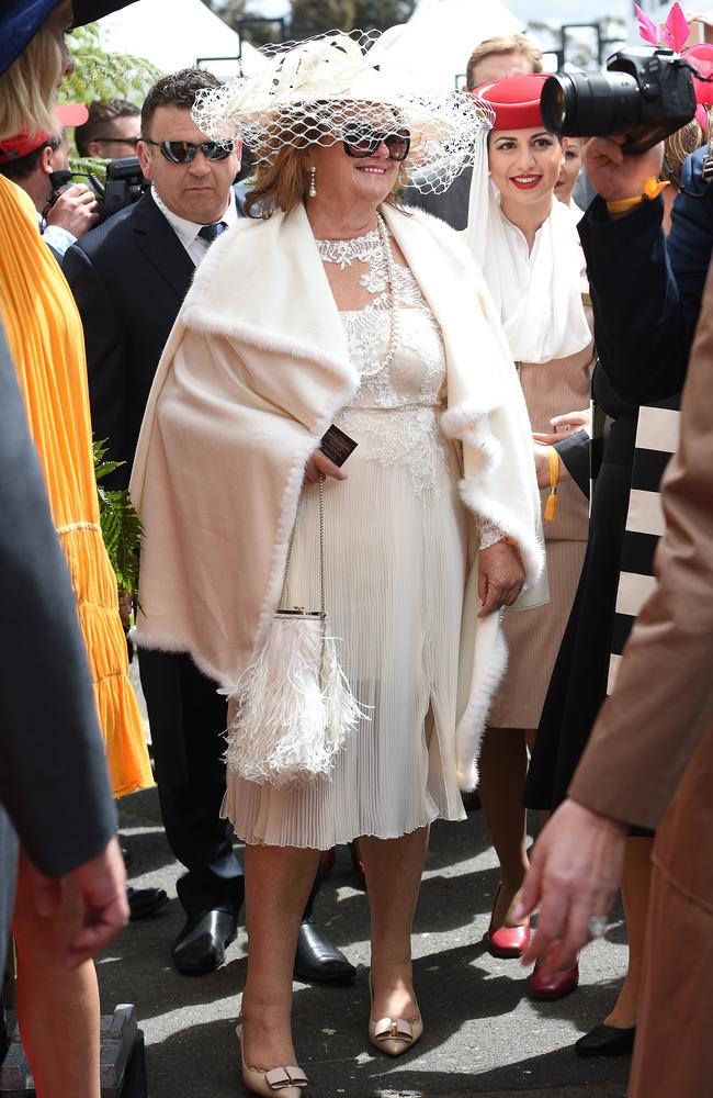 Photographers were keen to get a shot of Gina Rinehart at Flemintgton today. Picture: AAP Image/Dan Himbrechts