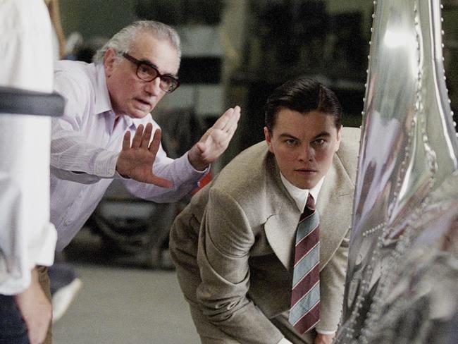 Martin Scorsese directs actor Leonardo DiCaprio in The Aviator.