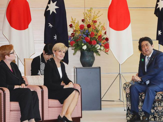 Australian Minister for Foreign Affairs Julie Bishop (c) and Defence Minister Marise Payne (l) meet with Japanese Prime Minister Shinzo Abe at the prime minister's official residence in Tokyo today. Picture: AFP