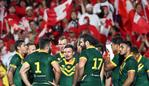 Australia players waits after Tonga scored a try during the rugby league international Test match between Australia and Tonga at Mt Smart Stadium in Auckland on October 20, 2018. (Photo by Fiona Goodall / AFP)