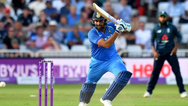 Rohit Sharma made an unbeaten century as the tourists won by eight wickets.