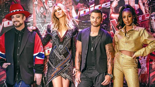 The Voice 2019 coaches: Boy George, Delta Goodrem, Guy Sebastian and Kelly Rowland. Picture: Channel 9