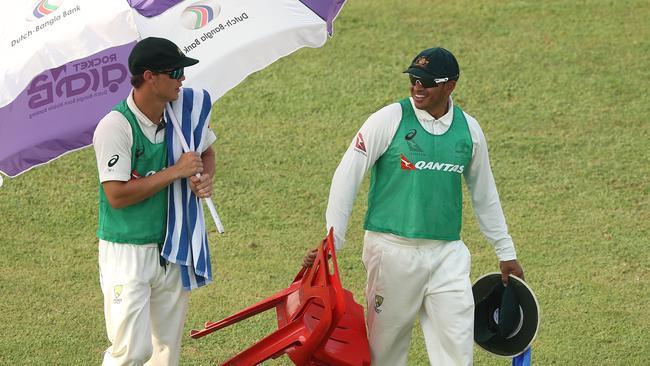 Usman Khawaja ran the drinks in the second Test.